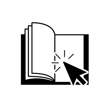 textbook: textbook with arrow pointer icon vector illustration design