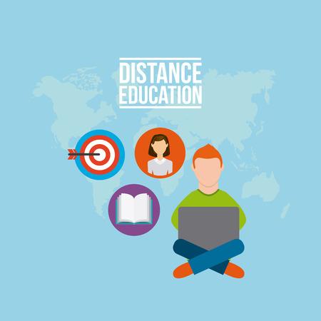 distance: distance education flat icons vector illustration design