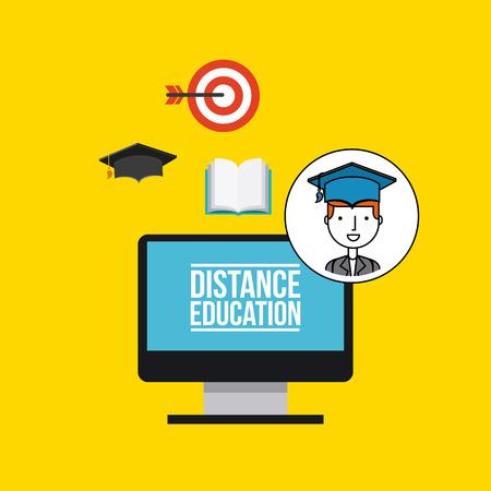 instructional: distance education flat icons vector illustration design