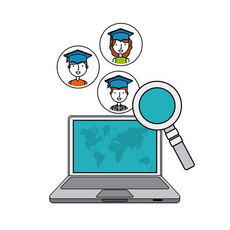 distance education flat icons vector illustration design
