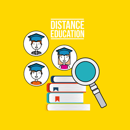 scholarship: distance education flat icons vector illustration design