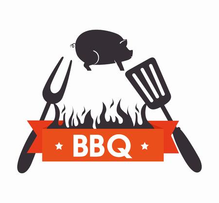 grills menu beef beer design isolated vector illustration