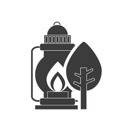 kerosene: kerosene lantern with camping icon vector illustration design Illustration