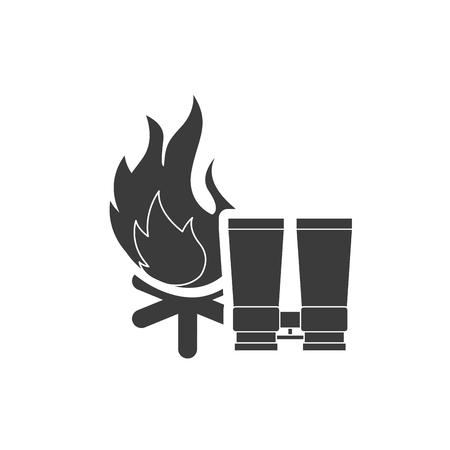 campfire with camping icon vector illustration design