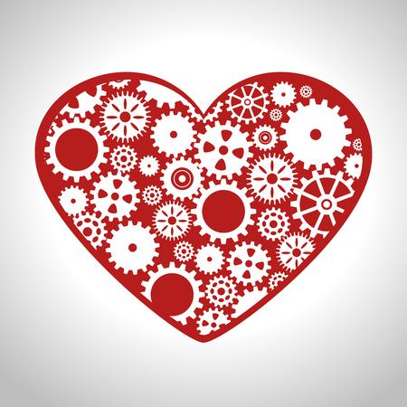 heart gear: heart gear wheel team work design isolated vector illustration