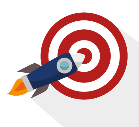 efficiency target rocket success design isolated vector illustration