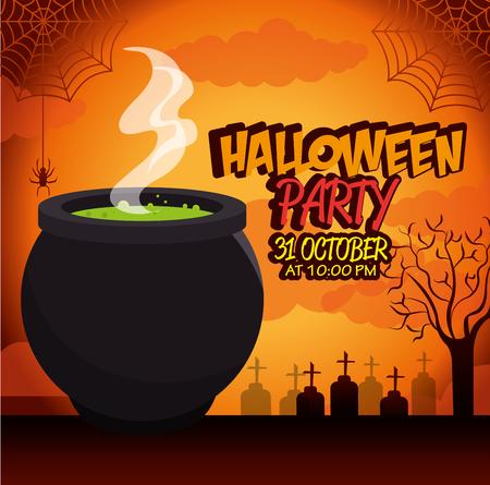 manifesto festa di Halloween con calderone disegno isolato illustrazione vettoriale