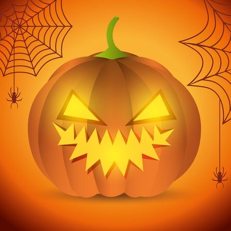 poster halloween party with pumpkin design isolated vector illustration