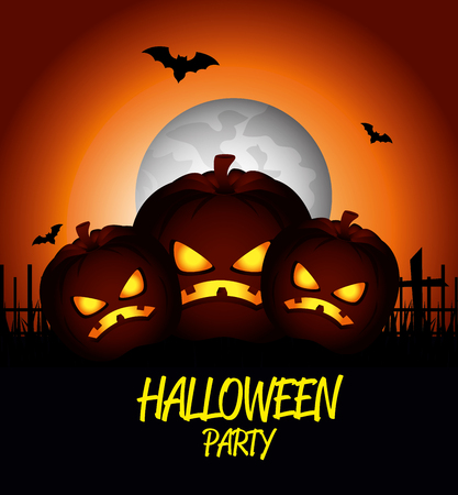 haunting: poster halloween party with pumpkin design isolated vector illustration