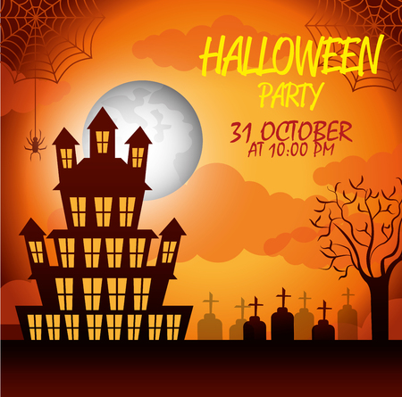 october 31: poster halloween party with house scary design isolated vector illustration
