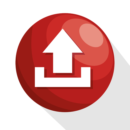 archive site: icon upload circle red process design isolated vector illustration eps 10 Illustration