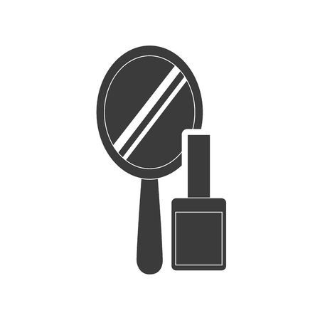 femininity: hand mirror with makeup product icon vector illustration design