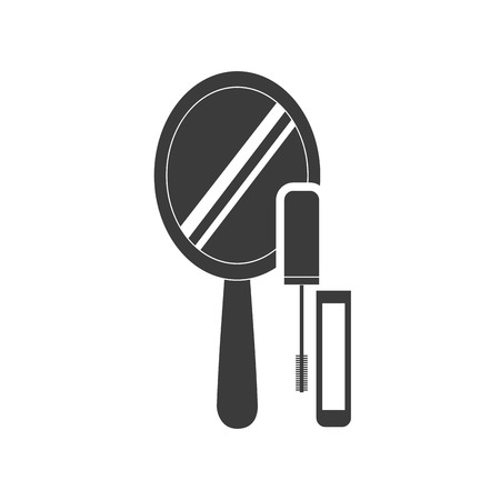 hand mirror: hand mirror with makeup product icon vector illustration design