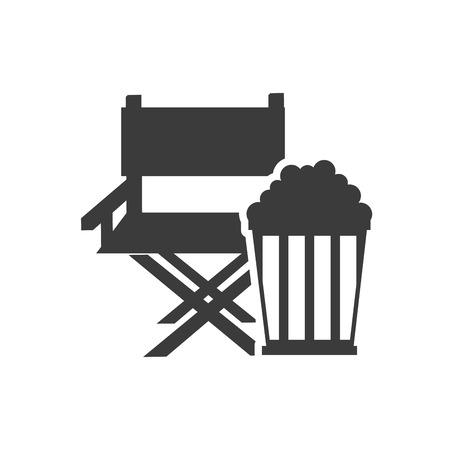 directors cut: cinematographic director chair with cinema icon vector illustration design Illustration