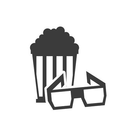 cinematograph: pop corn with cinematographic icon vector illustration design