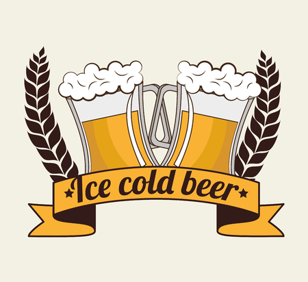cold pack: cartoon ice cool beer design design vector illustration eps 10