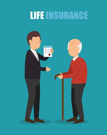 health elderly: agent insurance health elderly design vector illustration eps 10 Illustration