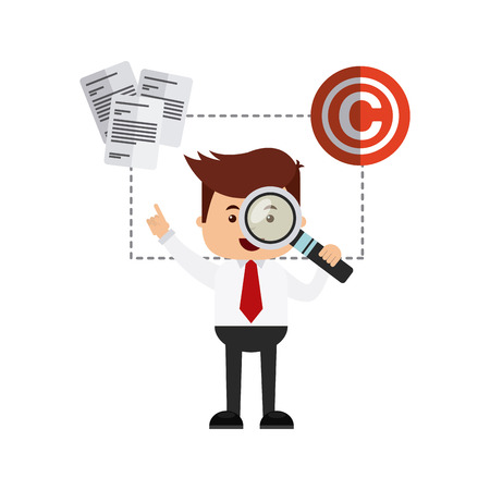 violation: businessman avatar with copyright concept vector illustration, eps10 Illustration