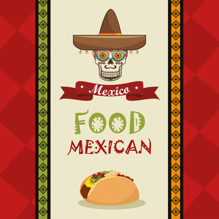 macabre: poster food and skull mexican design vector illustration eps 10