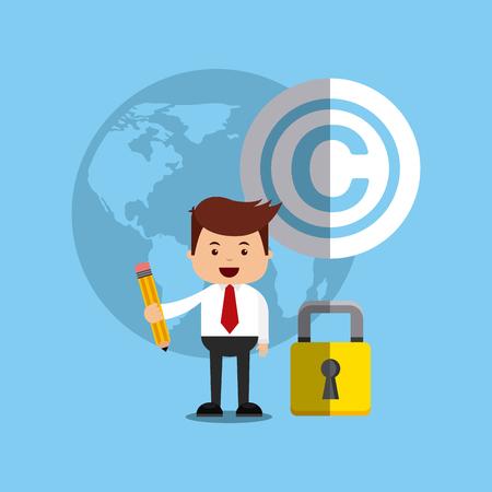businessman avatar with copyright concept vector illustration, eps10 Illustration