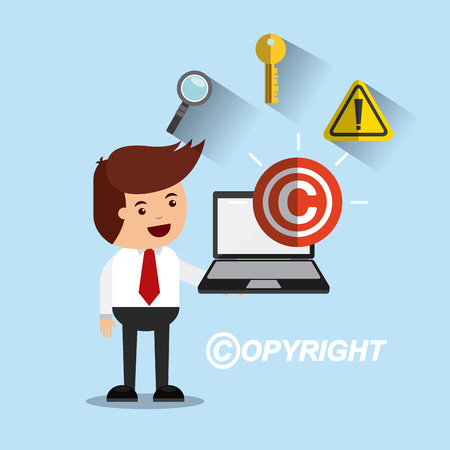 patent key: businessman avatar with copyright concept vector illustration, eps10 Illustration