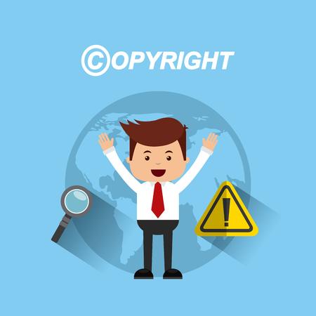 violación: businessman avatar with copyright concept vector illustration, eps10 Vectores