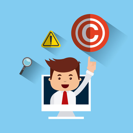 businessman avatar with copyright concept vector illustration, eps10 Illustration