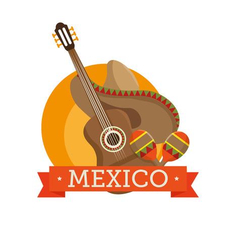 latinoamerica: icons music guitar maracas design vector illustration eps 10 Illustration
