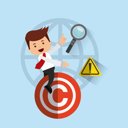 violación: avatar de negocios con la ilustración del concepto de derechos de autor vectorial, eps10