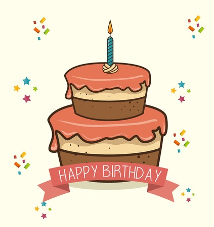 desing: cake candle sweet happy birthday desing isolated vector illustration eps 10