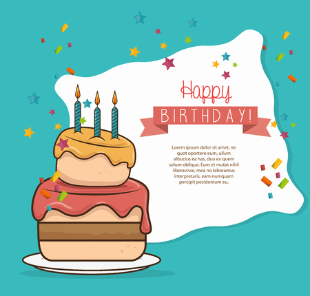 desing: cake three candle sweet happy birthday desing isolated vector illustration eps 10 Illustration