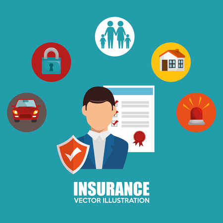 protection icon: agent insurance set protection design vector illustration eps 10 Illustration