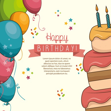 desing: cake sweet balloons happy birthday desing isolated vector illustration eps 10