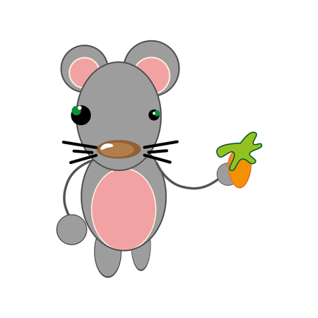 animal nose: pink mouse with brown nose. animal cartoon. vector illustration