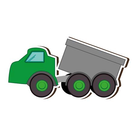 green truck dump. construction cargo transportation. vector illustration