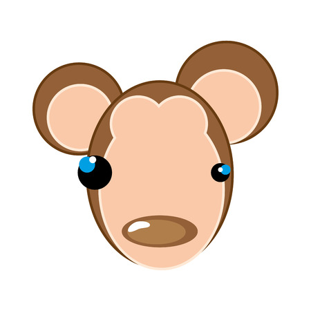 animal nose: monkey face with brown nose. animal cartoon. vector illustration