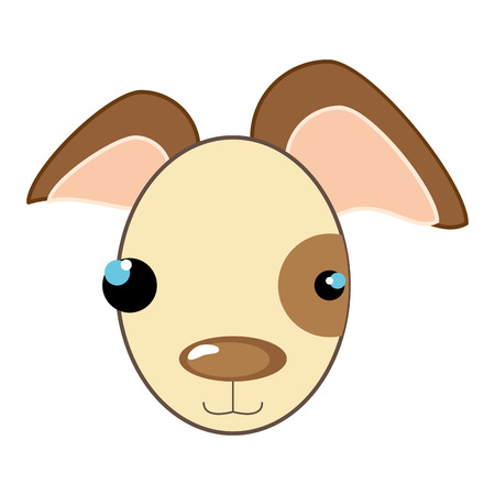 animal nose: dog face with brown nose. puppy animal cartoon. vector illustration Illustration