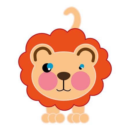animal nose: lion with brown nose. wild animal cartoon. vector illustration