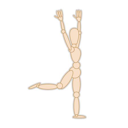 artists mannequin: wooden body mannequin figure. movement pose. vector illustration