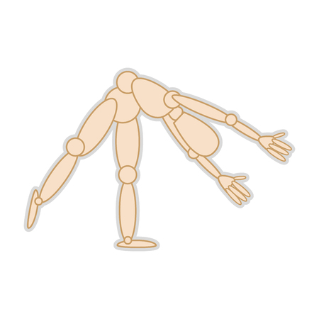 wooden body mannequin figure. movement pose. vector illustration