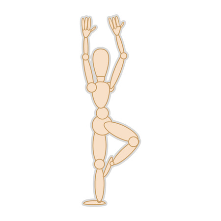 wooden figure: wooden body mannequin figure. movement pose. vector illustration