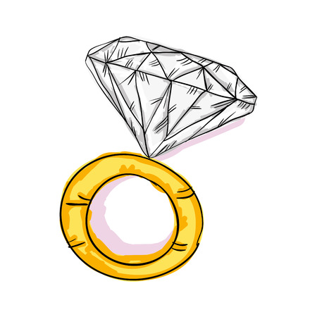 engagement gold ring with big diamond sketch. vector illustration