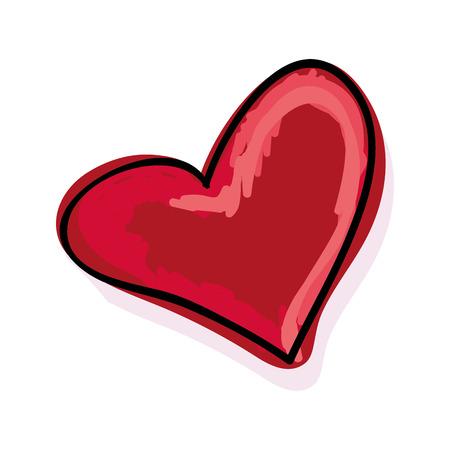 romance: red heart love draw . romance passion decoration vector illustration