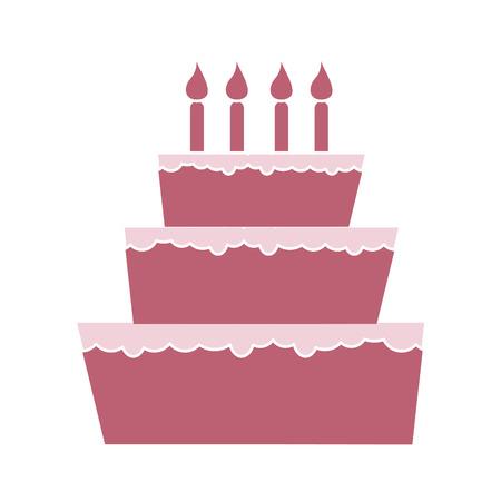 pink cake: birthday celebration big pink cake with candles. sweet dessert. vector illustration