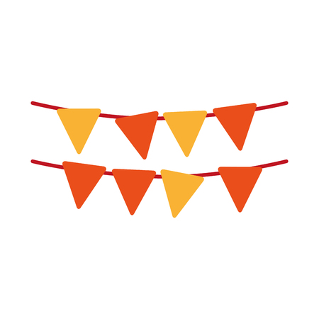 outdoor event: yellow and orange pennants party decoration element. vector illustration
