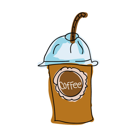 plastic container: coffee drink beverage. plastic container and straw. draw vector illustration