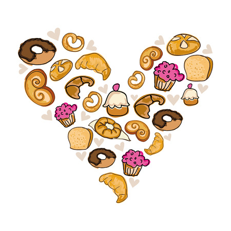 heart shape of donuts muffins and bakery products. vector illustration
