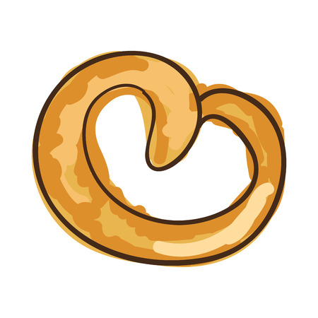 pretzel bakery bread product. draw design. vector illustration