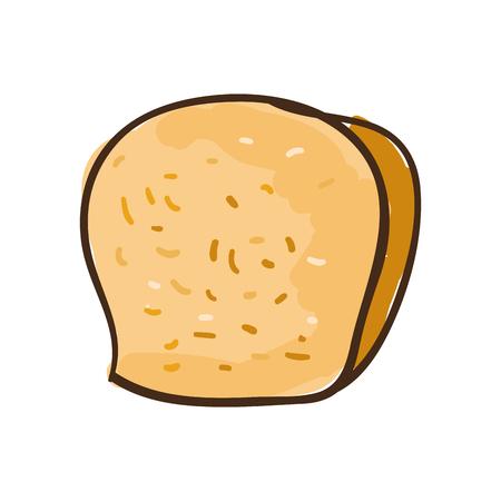 baked: slice of bread bakery. loaf baked product. draw design. vector illustration