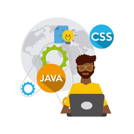 css3: software developer and programmer vector illustration design Illustration